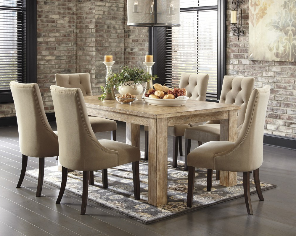 Mestler Bisque Rectangular Dining Room Table & 6 Light Brown Uph With Regard To Preferred Dining Table With Sofa Chairs (View 3 of 20)