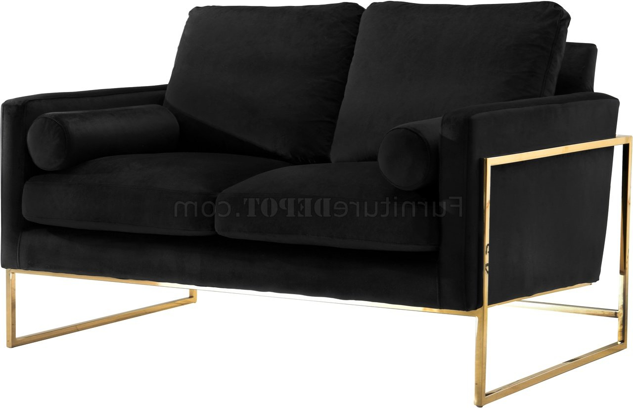 Mila Sofa 678 In Black Velvet Fabricmeridian W/options Within Most Recently Released Milo Sofa Chairs (View 5 of 20)