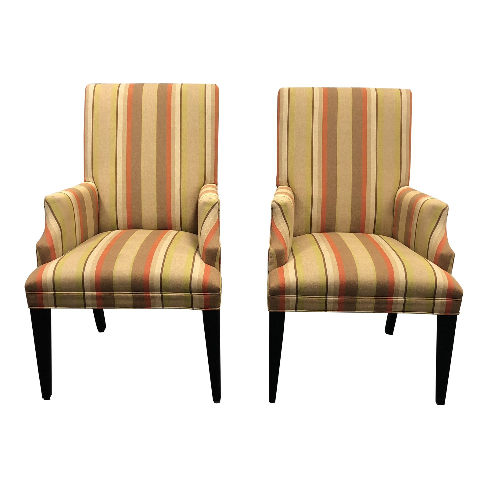 Mitchell Arm Sofa Chairs With Well Known Mitchell Gold + Bob Williams Striped Fabric Arm Chairs – A Pair (Gallery 1 of 20)