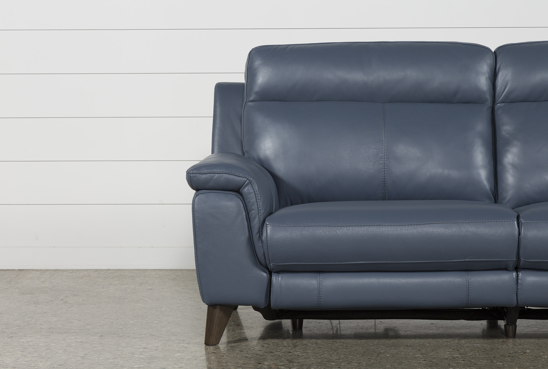 Featured Photo of Moana Blue Leather Power Reclining Sofa Chairs With Usb