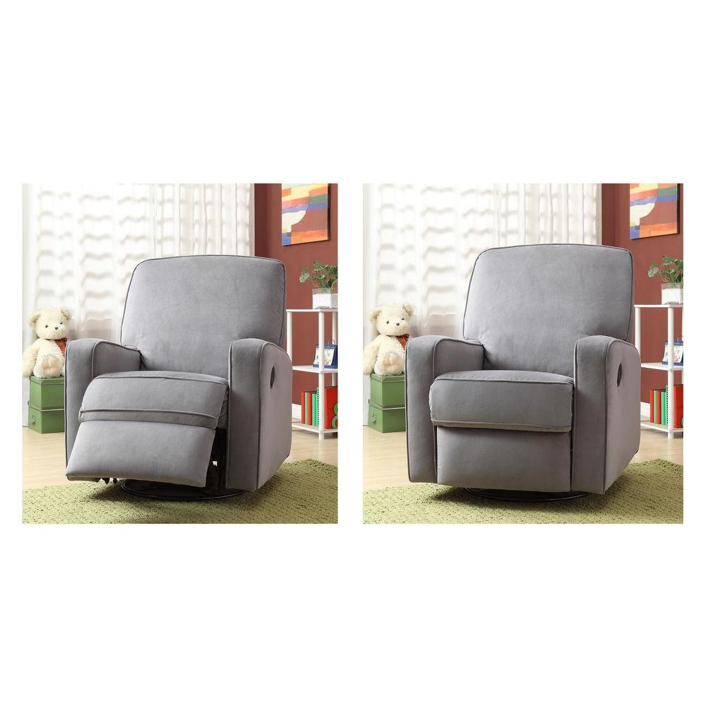 Modern – Gray – Fabric – Chairs – Living Room Furniture – The Home Depot Throughout Preferred Decker Ii Fabric Swivel Glider Recliners (View 16 of 20)