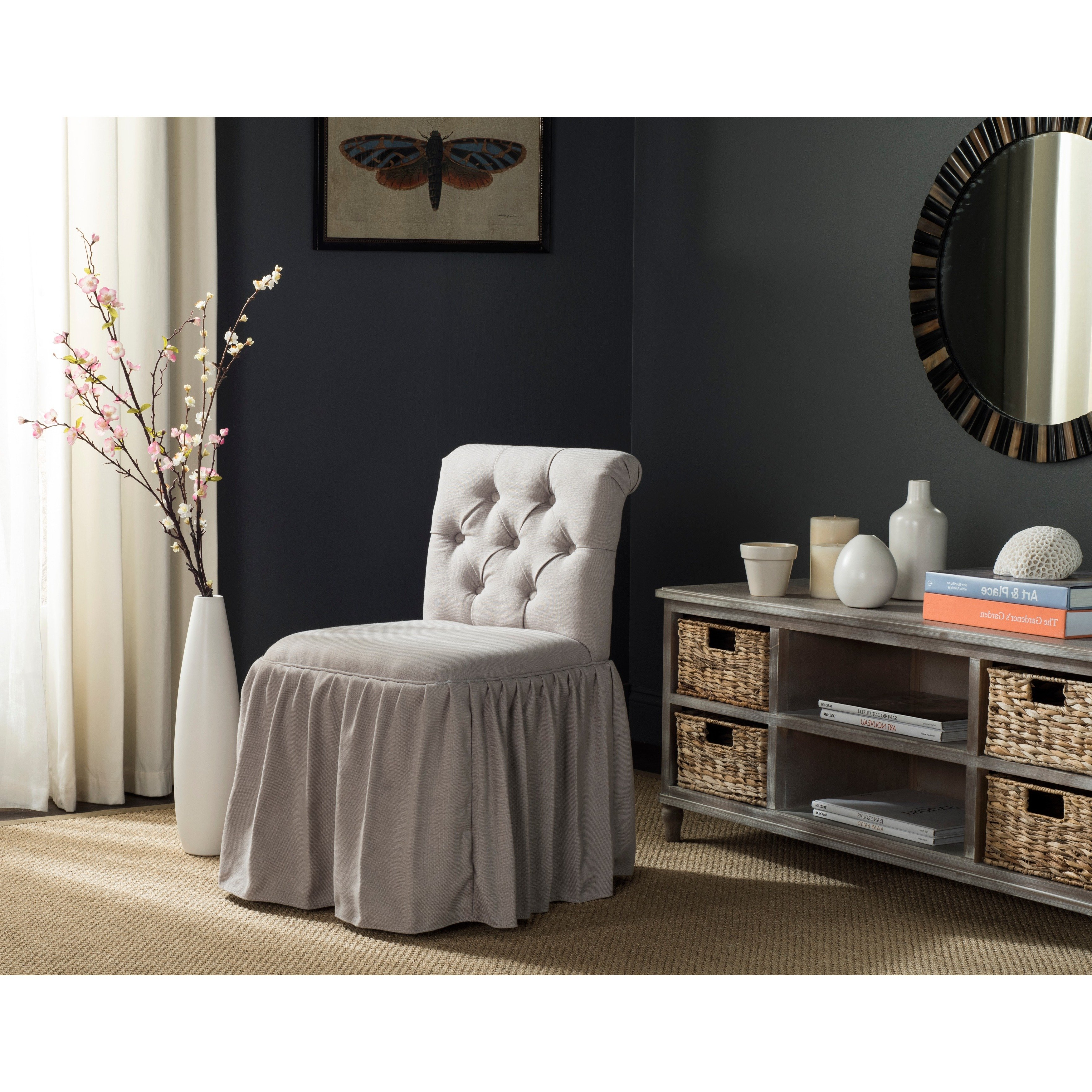 Most Current Allie Dark Grey Sofa Chairs Regarding Shop Safavieh Allie Taupe Linen Vanity Chair – Free Shipping Today (View 8 of 20)