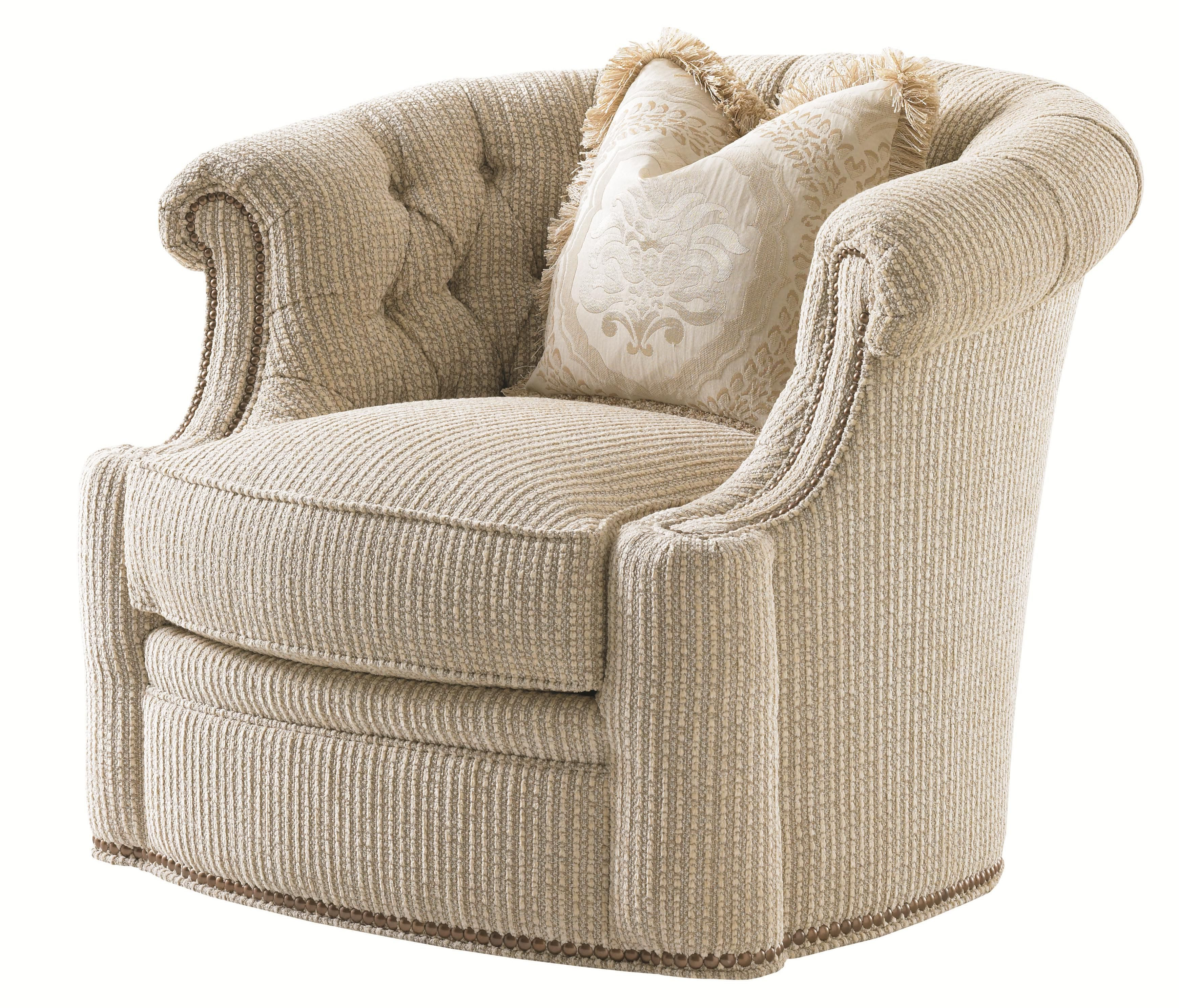 Most Current Florentino Feroni Swivel Tub Chair With Tufted Back And Nailheads Within Loft Smokey Swivel Accent Chairs (View 3 of 20)