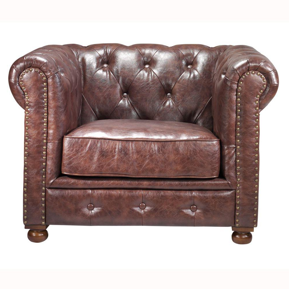 Most Current Gordon Arm Sofa Chairs Regarding Home Decorators Collection Gordon Brown Leather Arm Chair (View 5 of 20)