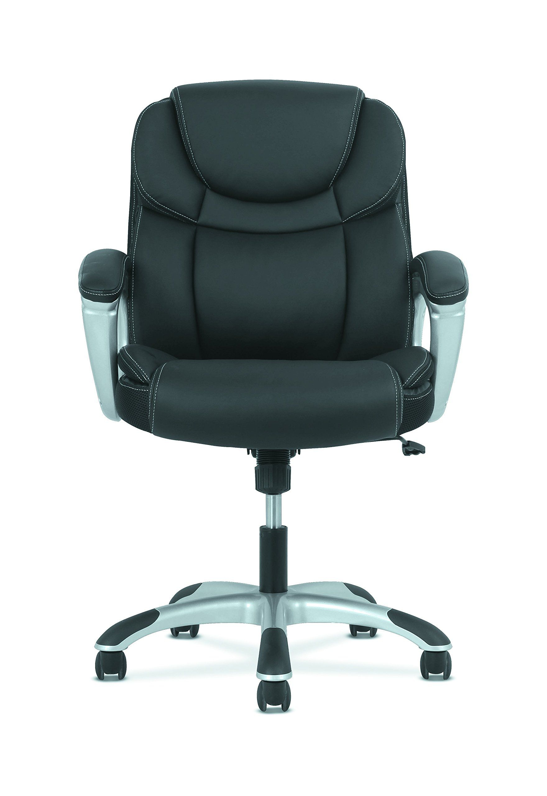 Most Current Hon Sadie Leather Executive Computer/office Chair With Arms In Sadie Ii Swivel Accent Chairs (View 8 of 20)