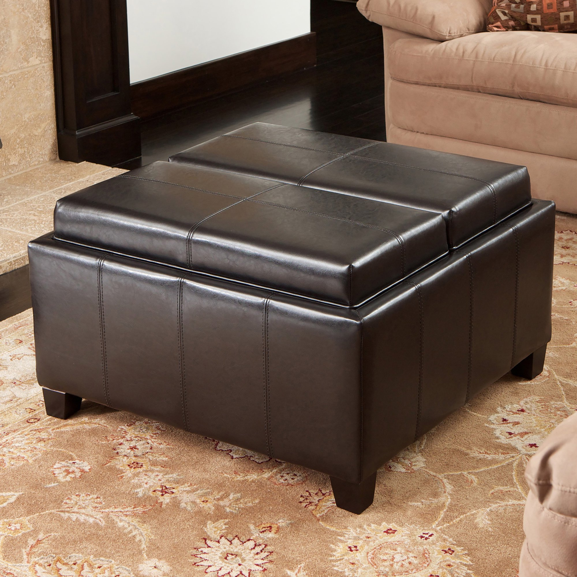 Most Current Mansfield Cocoa Leather Sofa Chairs Within Shop Mansfield Bonded Leather Espresso Tray Top Storage Ottoman (View 13 of 20)