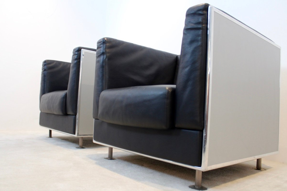 Most Current Matteo Arm Sofa Chairs Throughout Unique Matteo Grassi Soft Leather Arm Chairs In Aluminium Shell (View 10 of 20)