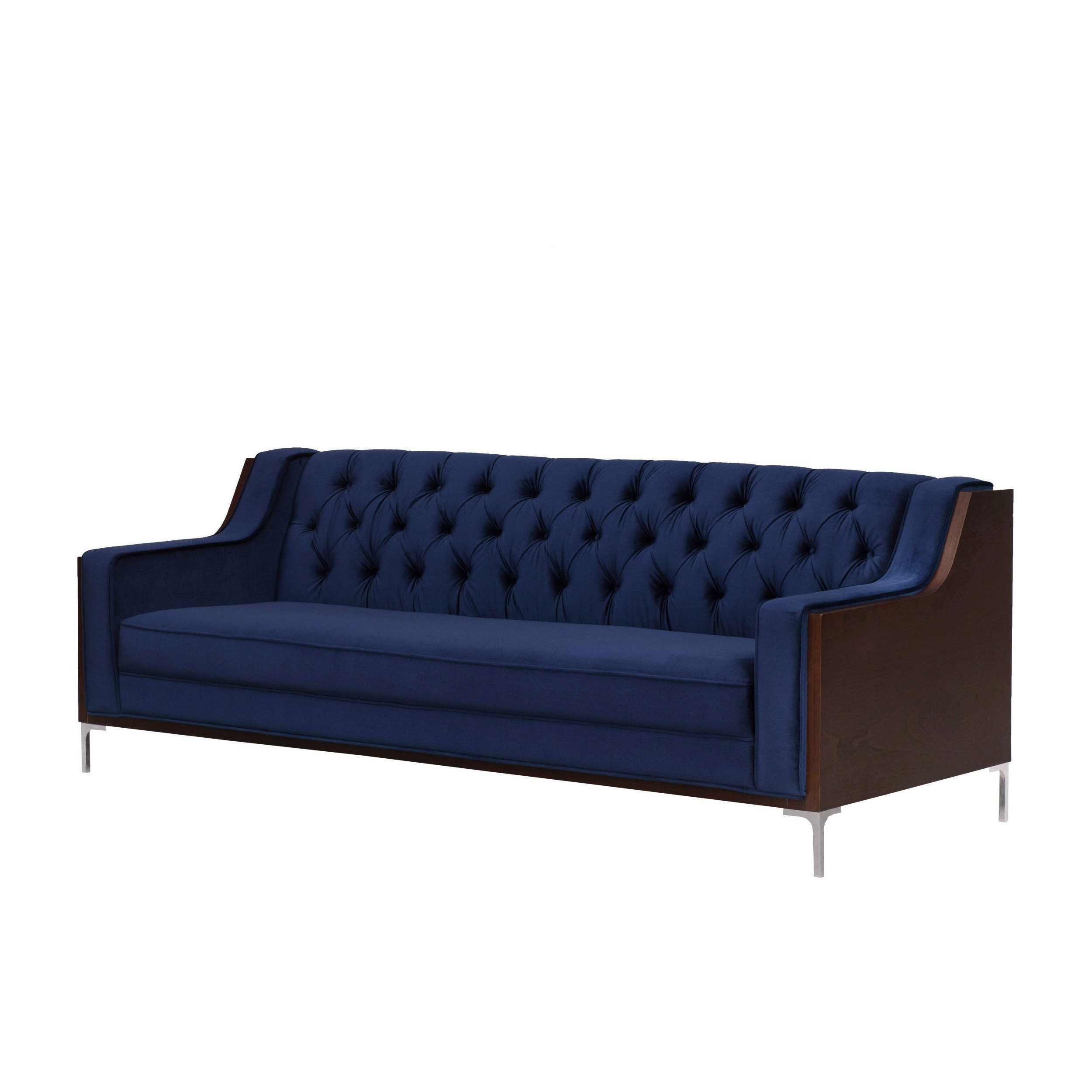 Most Current Parker Sofa Chairs Within Shop Chic Home Parker Sofa Button Tufted Velvet Walnut Finish Swoop (View 9 of 20)