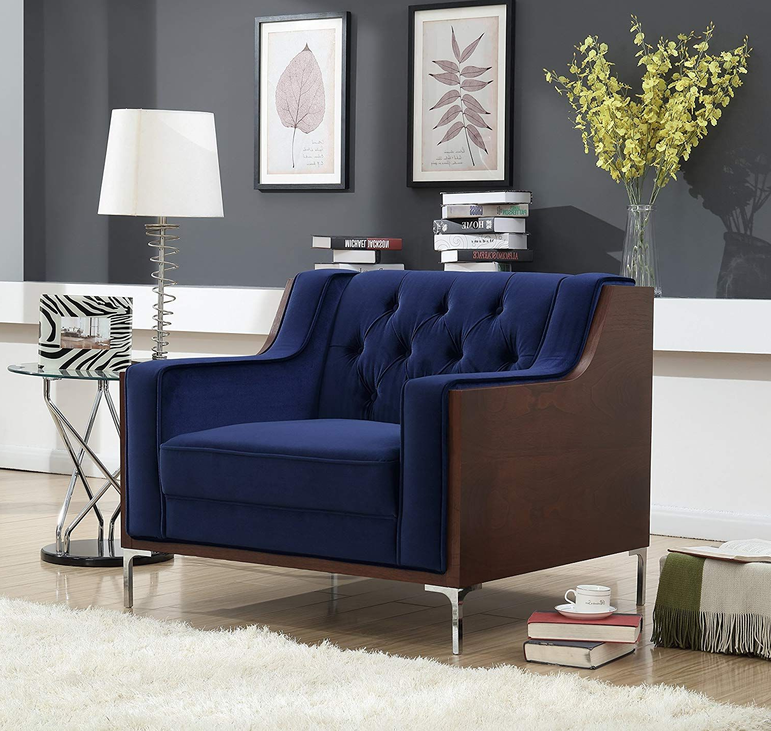 Most Current Patterson Ii Arm Sofa Chairs In Velvet Tufted Swoop Arm Club Chair With Walnut Finish Silvertone (View 7 of 20)