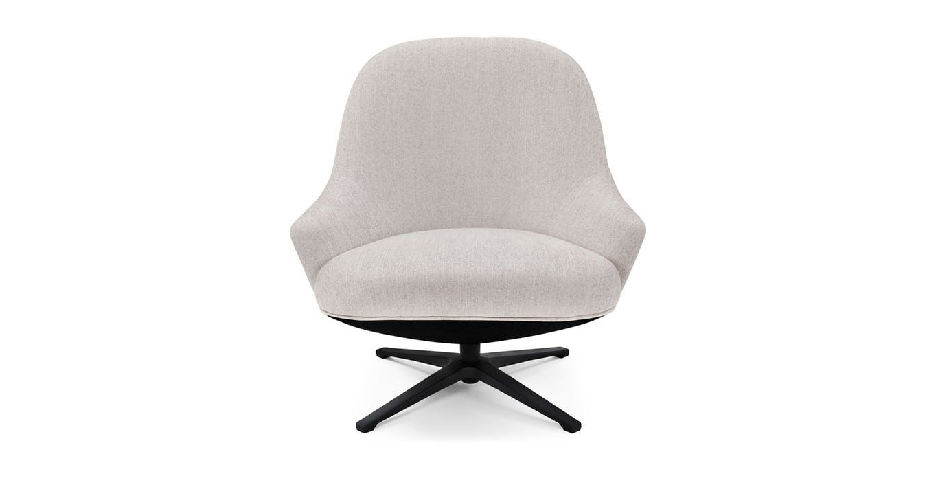 Most Current White Swivel Armchair, Black Metal Base (View 8 of 20)