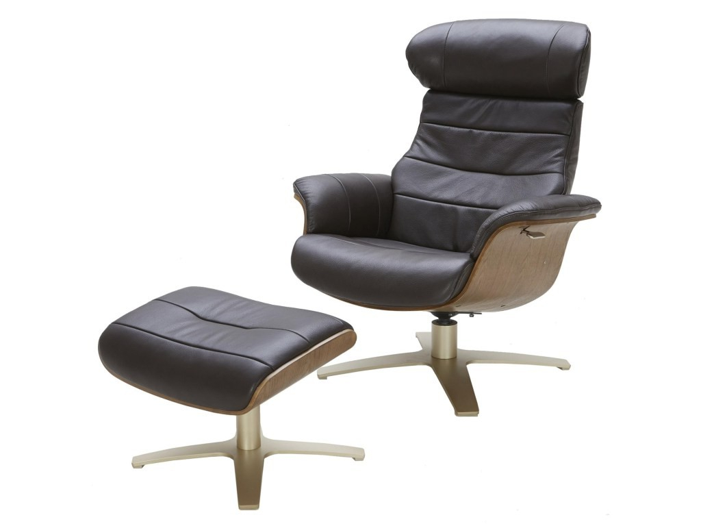 Most Popular Amala White Leather Reclining Swivel Chairs Inside Amala Dark Grey Leather Reclining Swivel Chair Ottoman Living Spaces (Gallery 15 of 20)