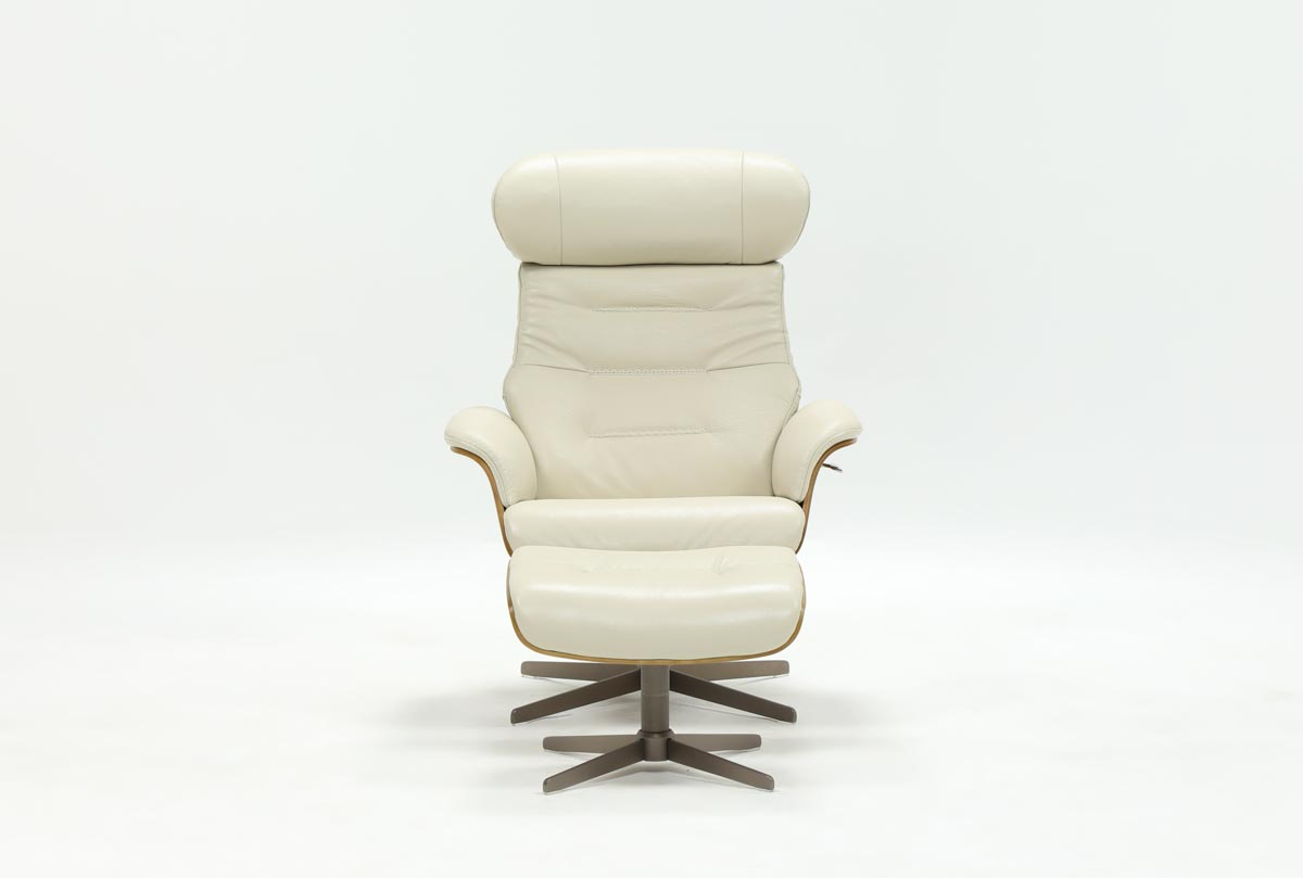 Most Popular Bailey Linen Flare Arm Wing Skirted Swivel Gliders With Amala Bone Leather Chair & Ottoman (View 7 of 9)