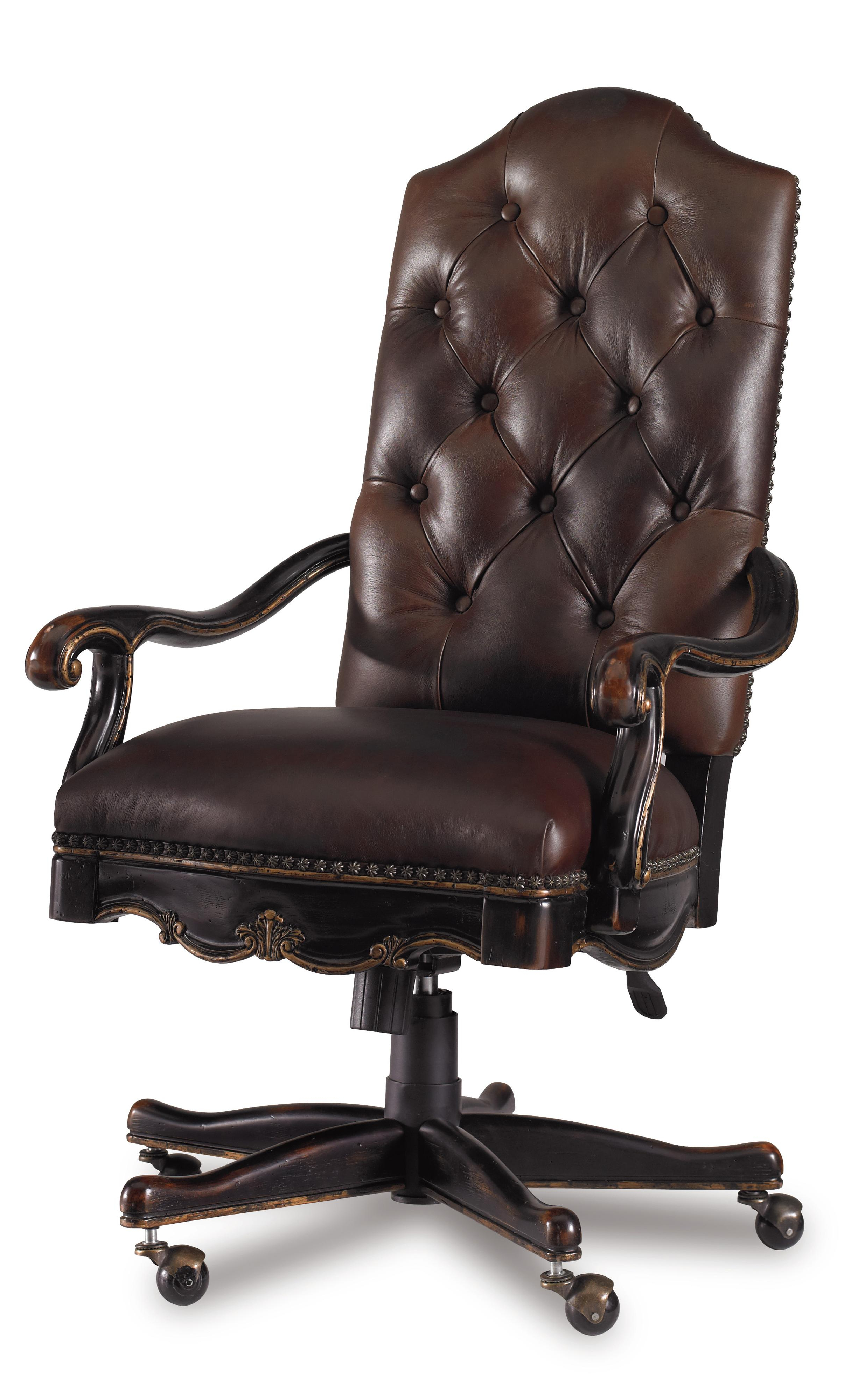 Most Popular Chocolate Brown Leather Tufted Swivel Chairs Pertaining To Hooker Furniture Grandover Tufted Leather Executive Office Chair (View 14 of 20)