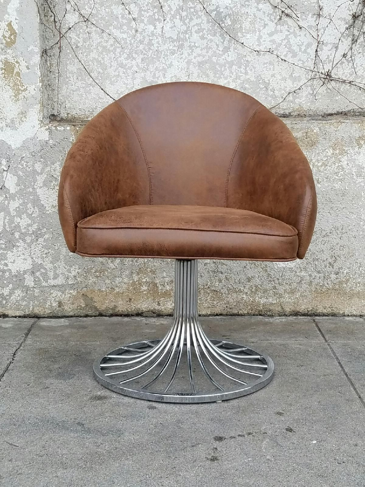 Most Popular Faux Distressed Leather Vintage Swivel Chair In Tobacco Brown Pertaining To Swivel Tobacco Leather Chairs (View 13 of 20)