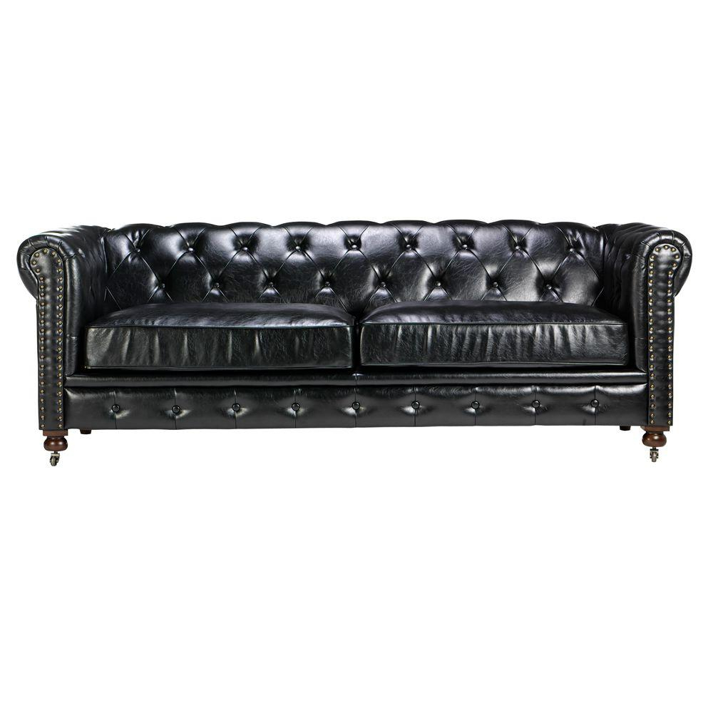 Most Popular Gordon Arm Sofa Chairs Intended For Home Decorators Collection Gordon Black Leather Sofa (View 11 of 20)