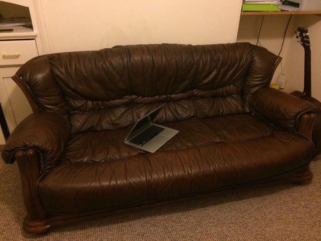 Most Popular Leather Sofa: 3 Seater, 2 Arm Chairs And Foot Stool (View 4 of 20)