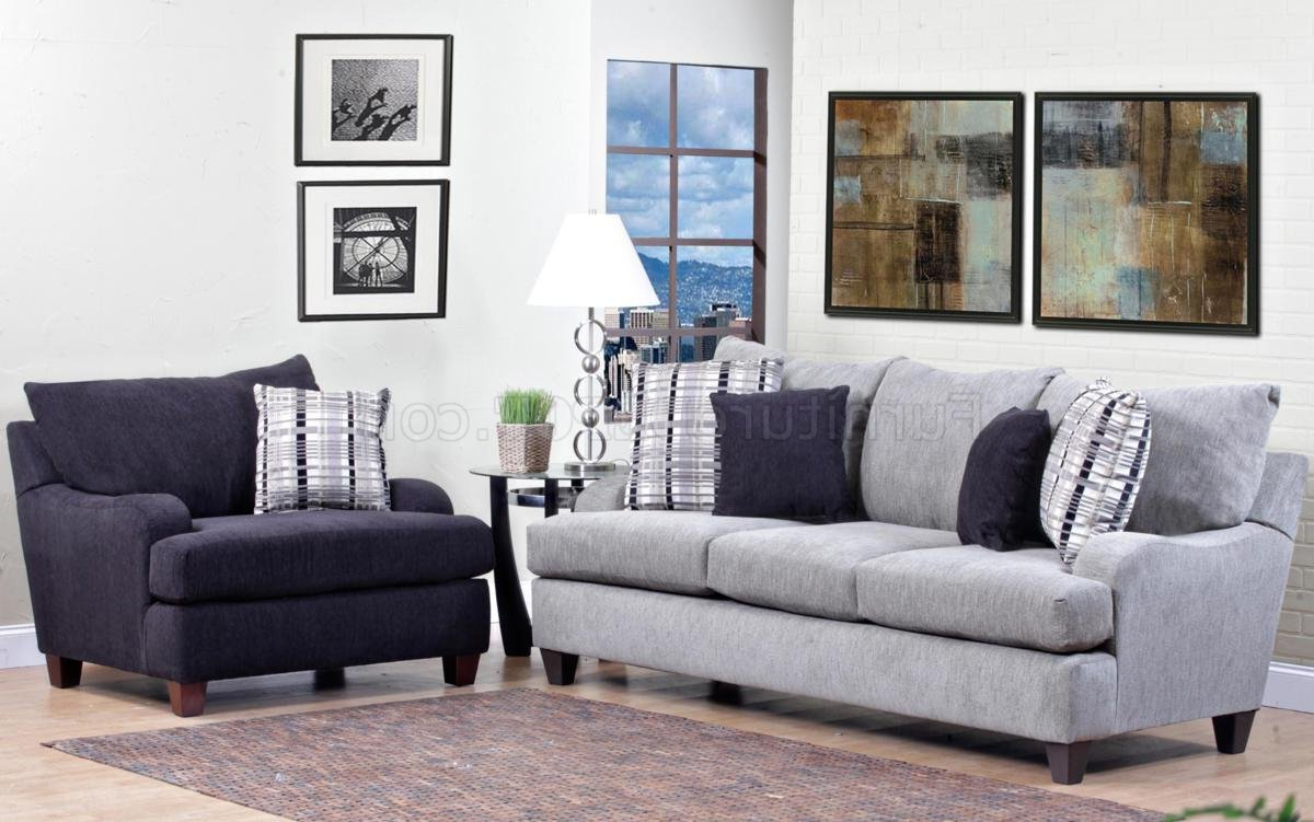 Most Popular Light Grey Fabric Modern Sofa & Accent Chair Set W/options Throughout Sofa And Chair Set (Gallery 13 of 20)