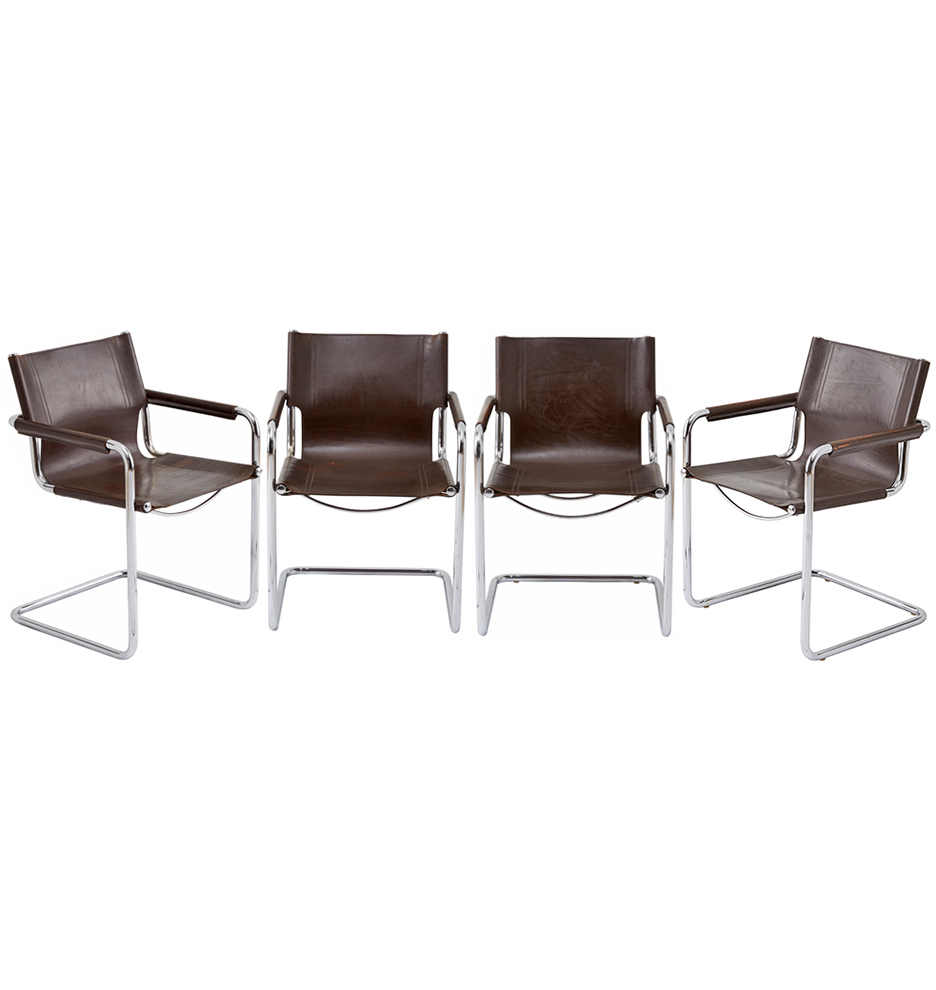 Most Popular Matteo Arm Sofa Chairs Inside Chrome & Leather Cantilevered Mg5 Chairsmatteo Grassi (View 11 of 20)
