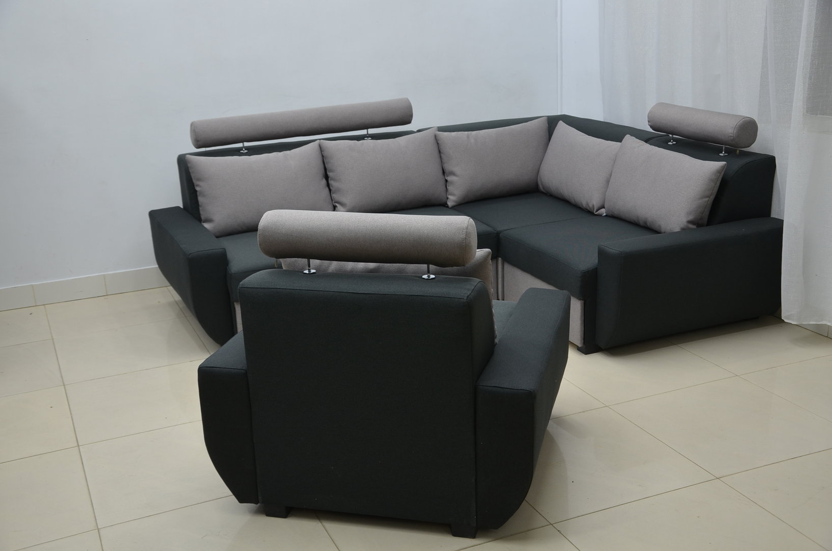Most Popular Single Chair Sofa Bed Throughout Corner Sofa Bed Mood With Single Chair, Twill Black / Grey (View 17 of 20)