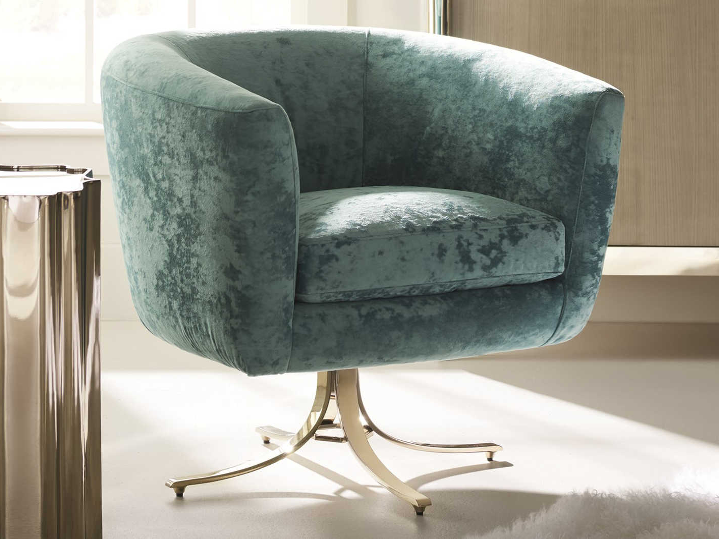 Most Recent Caracole Classic Twirl Around Turquoise / Whisper Of Gold Accent For Twirl Swivel Accent Chairs (View 3 of 20)