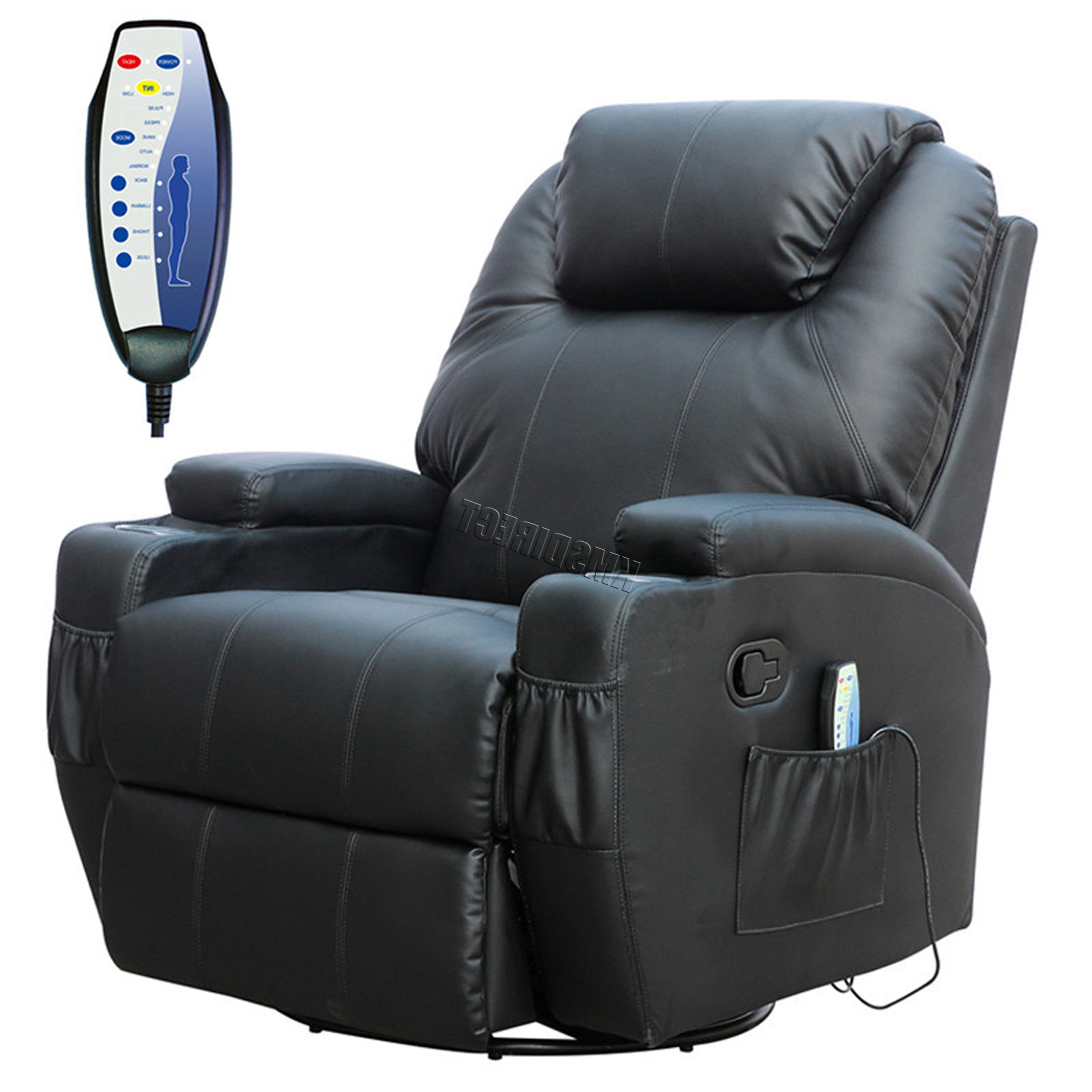 Most Recent Recliner Sofa Chairs Throughout Foxhunter Bonded Leather Massage Recliner Chair Cinema Sofa Armchair (View 5 of 20)