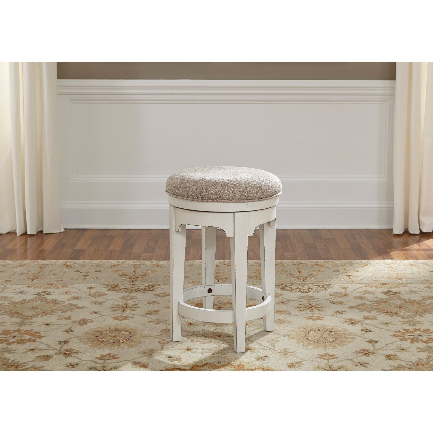 Most Recent Shop Magnolia Manor Antique White Console Swivel Stool – Free With Regard To Manor Grey Swivel Chairs (View 9 of 20)