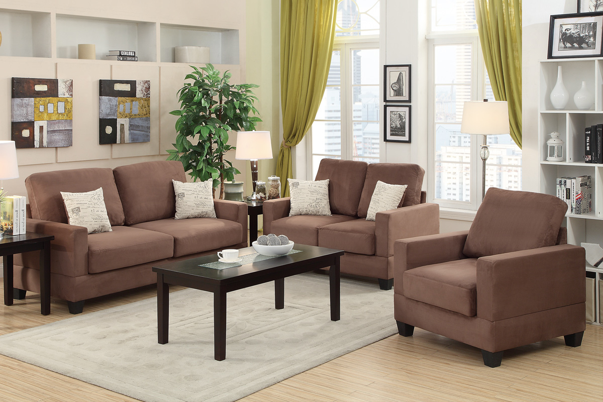 Most Recently Released Brown Wood Sofa Loveseat And Chair Set – Steal A Sofa Furniture With Regard To Sofa And Chair Set (View 7 of 20)