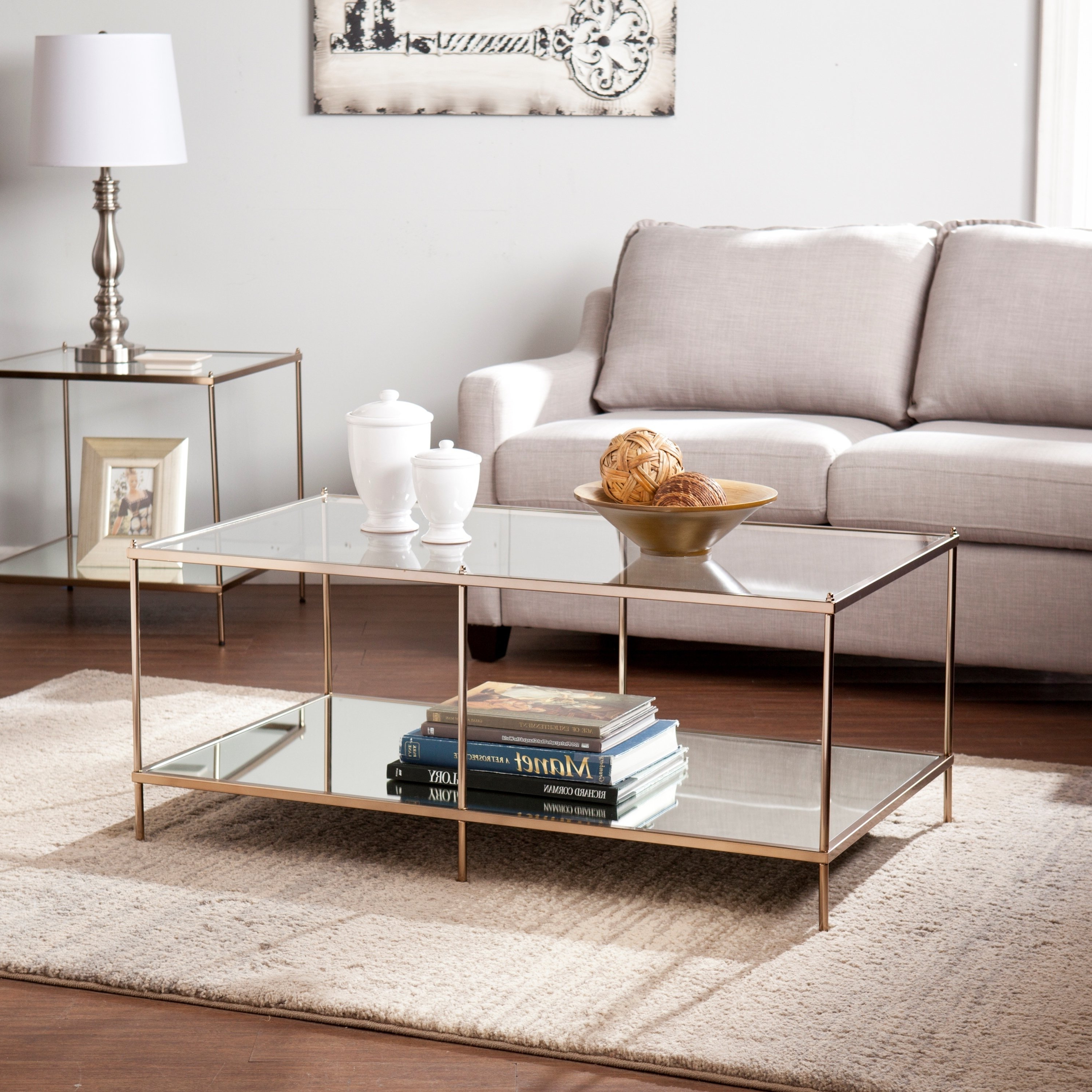 Most Recently Released Harper Down Oversized Sofa Chairs Throughout Shop Harper Blvd Kendall Goldtone Glass Top Coffee Table – Free (Gallery 19 of 20)