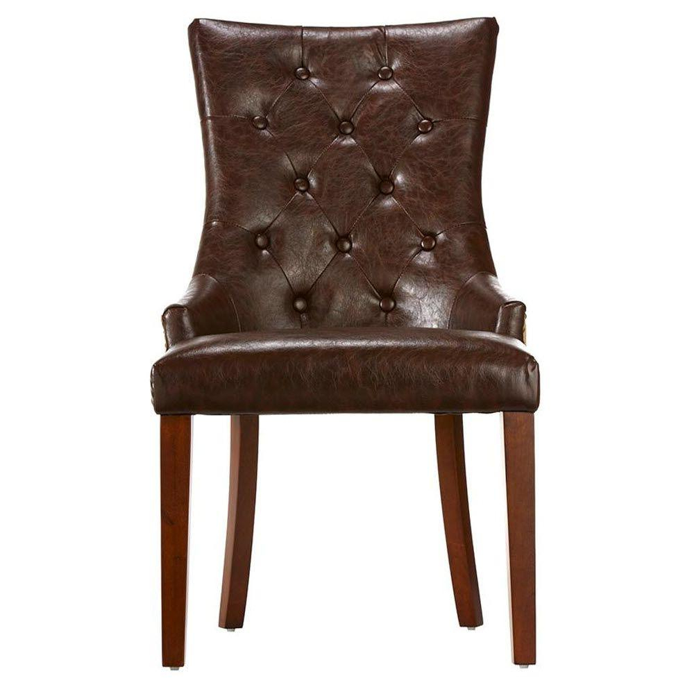 Most Recently Released Home Decorators Collection Rebecca Brown Leather Tufted Accent Chair Intended For Chocolate Brown Leather Tufted Swivel Chairs (View 19 of 20)
