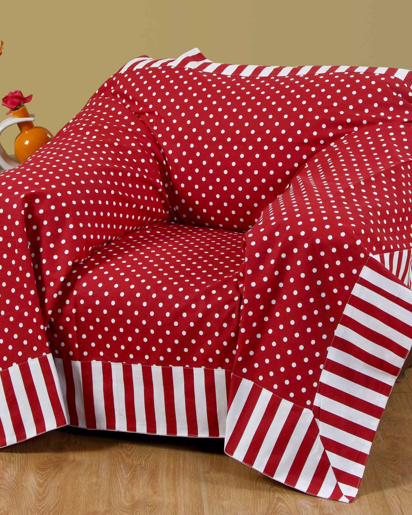 Most Up To Date Cotton Throws For Sofas And Chairs Within Cotton Red Polka Dots And Stripes Sofa Throw – Homescapes (View 9 of 20)