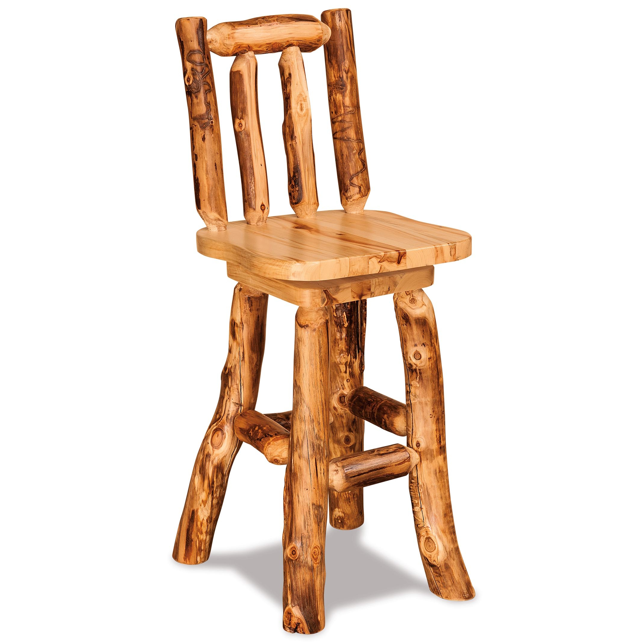 Most Up To Date Fireside Rustic Aspen Swivel Log Bar Stools – The Log Furniture Store Inside Aspen Swivel Chairs (View 15 of 20)