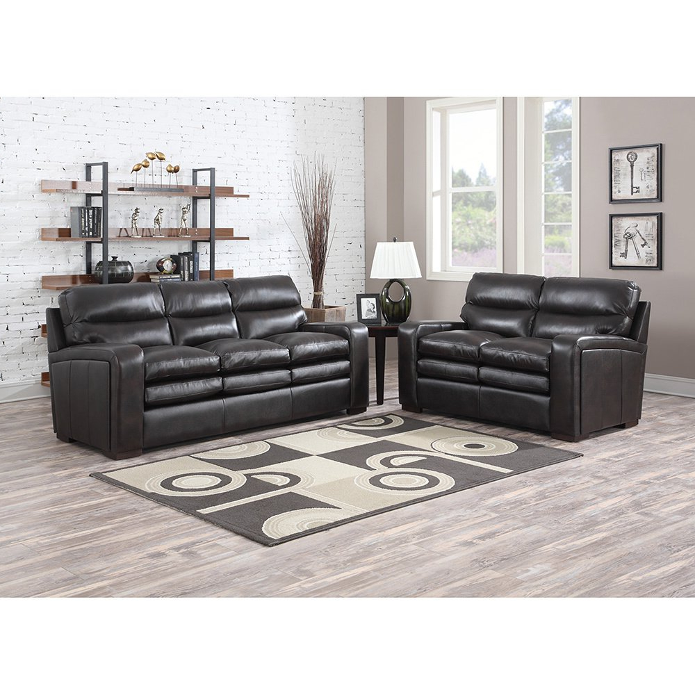Most Up To Date Mercer Dark Brown Italian Leather Sofa And Leather Loveseat – Free Pertaining To Mercer Foam Oversized Sofa Chairs (View 10 of 20)