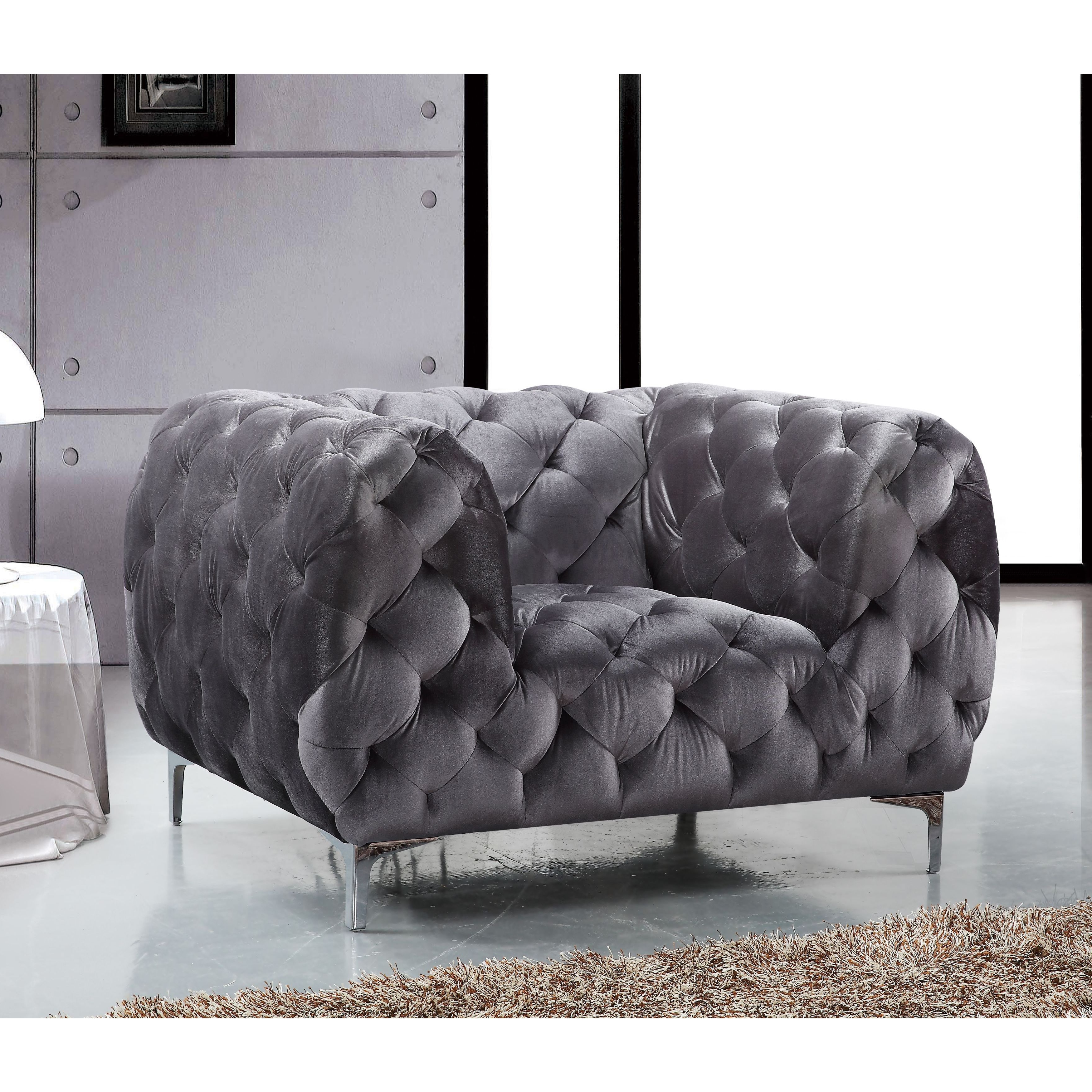 Most Up To Date Mercer Foam Oversized Sofa Chairs Throughout Shop Meridian Mercer Grey Velvet Chair – Free Shipping Today (View 11 of 20)