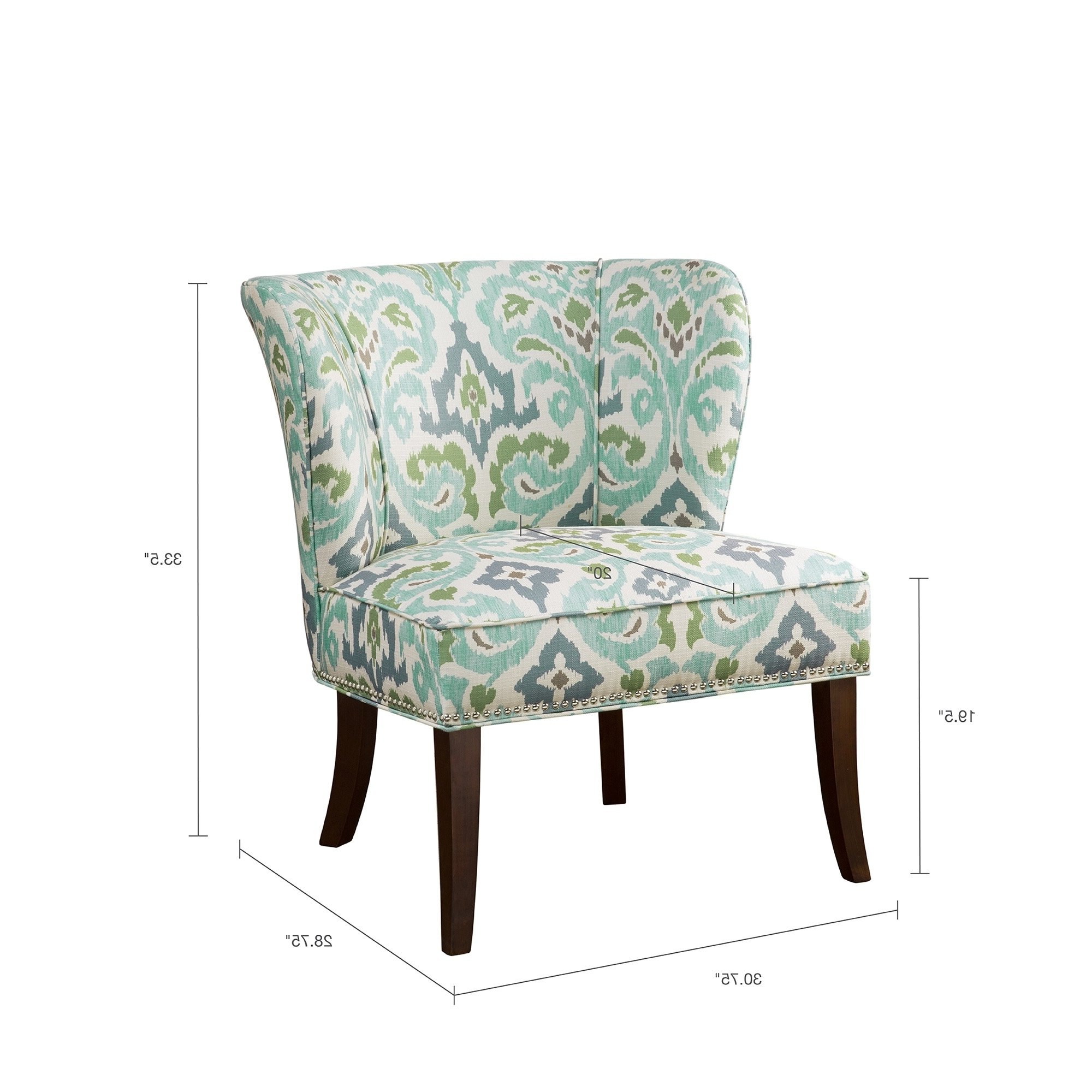 Most Up To Date Shop Madison Park Sheldon Blue/ Green Printed Armless Accent Chair Intended For Sheldon Oversized Sofa Chairs (Gallery 20 of 20)