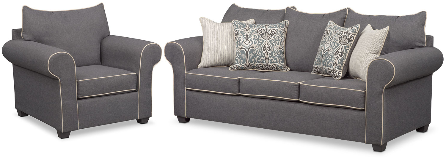 Most Up To Date Sofa And Chair Set Inside Carla Sofa And Chair Set – Gray (View 1 of 20)