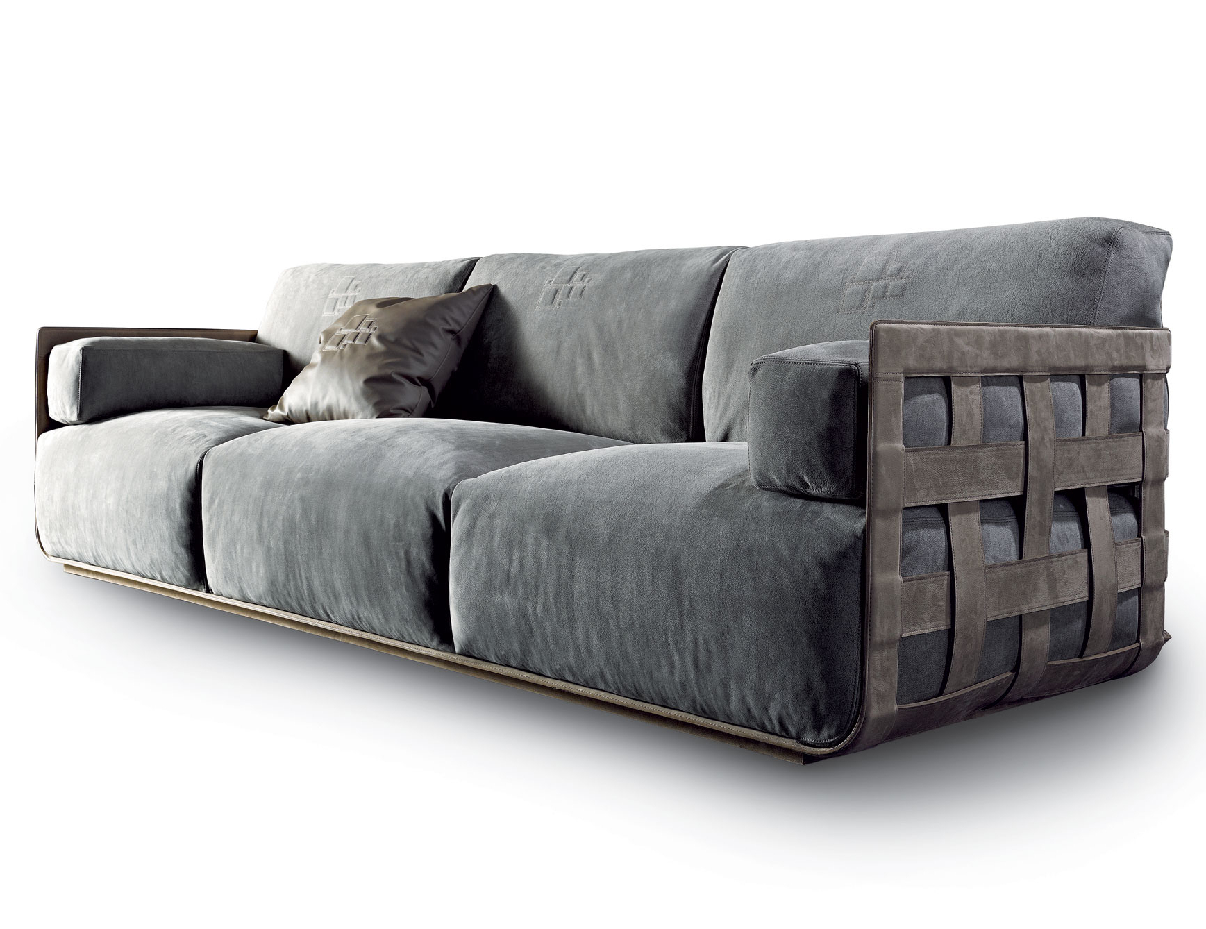 Nella Vetrina Rugiano Braid Grey Upholstered Linen Velvet Sofa In Newest Mansfield Graphite Velvet Sofa Chairs (View 9 of 20)