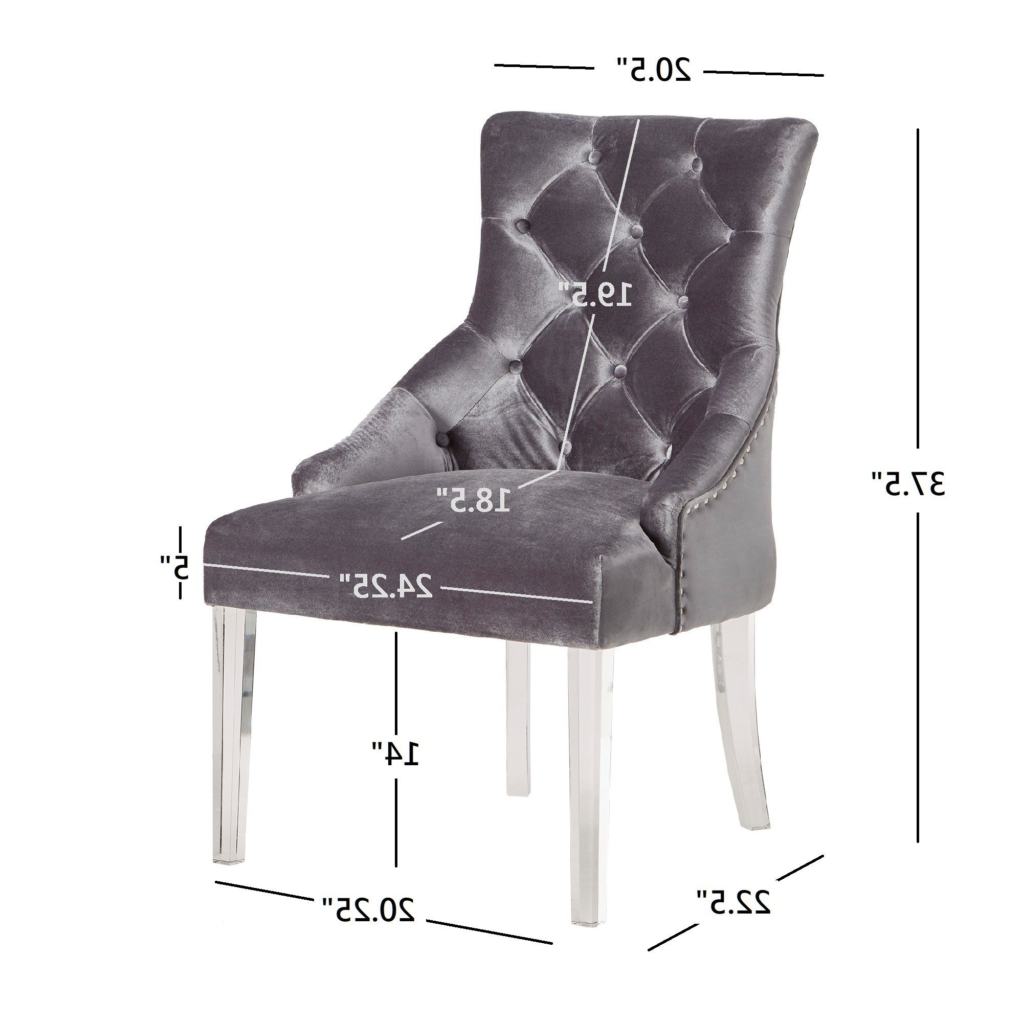 Newest Gina Blue Leather Sofa Chairs Intended For Shop Gina Velvet Tufted Dining Chair (Set Of 2) With Acrylic Legs (Gallery 8 of 20)