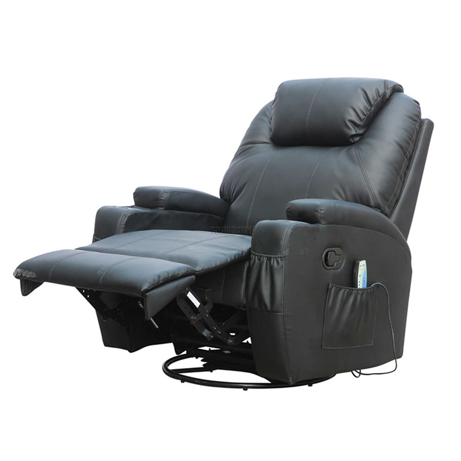 Newest Recliner Sofa Chairs With Ex Demo Black Bonded Leather Massage Cinema Recliner Sofa Chair (Gallery 1 of 20)
