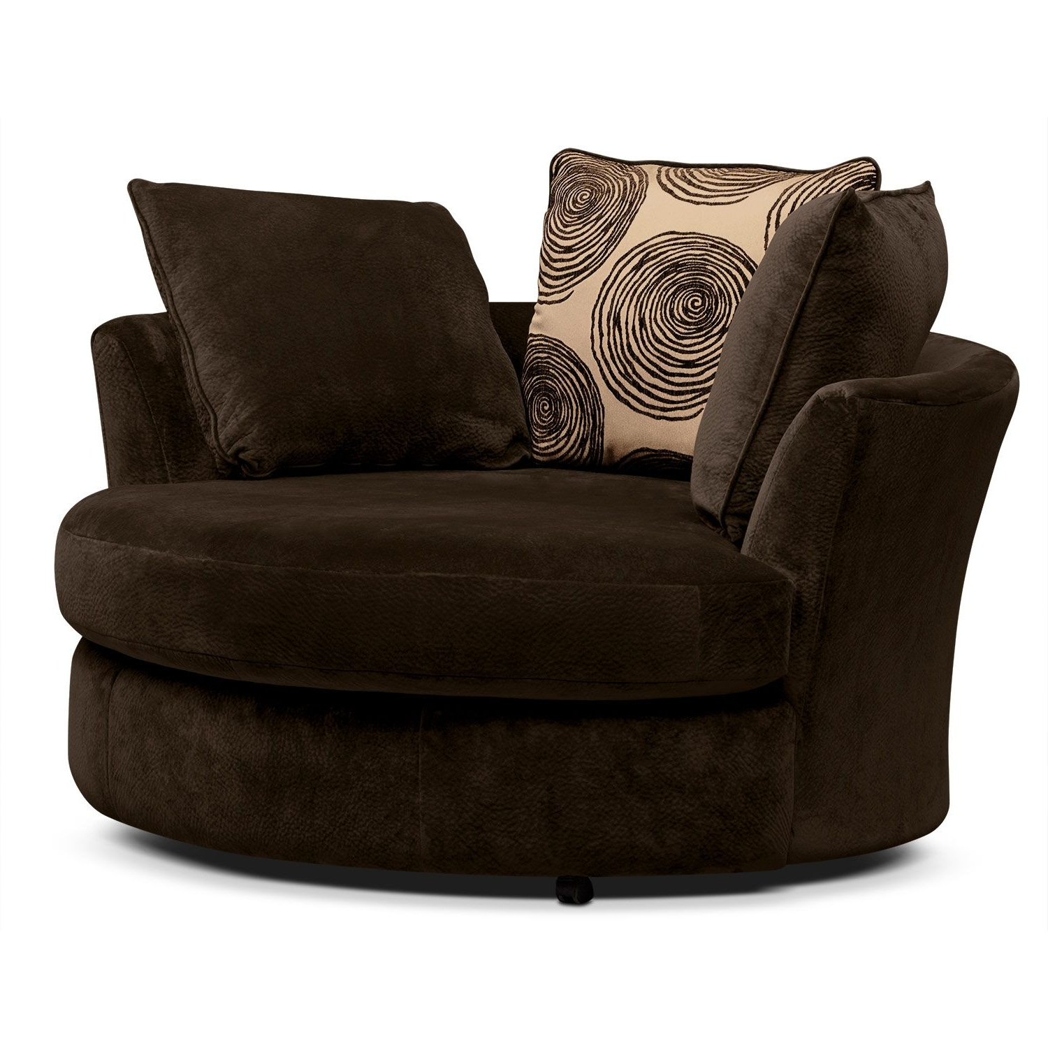 Newest Round Sofa Chair Living Room Furniture Within Living Room Furniture Catalina Chocolate Swivel Chair (Gallery 9 of 20)