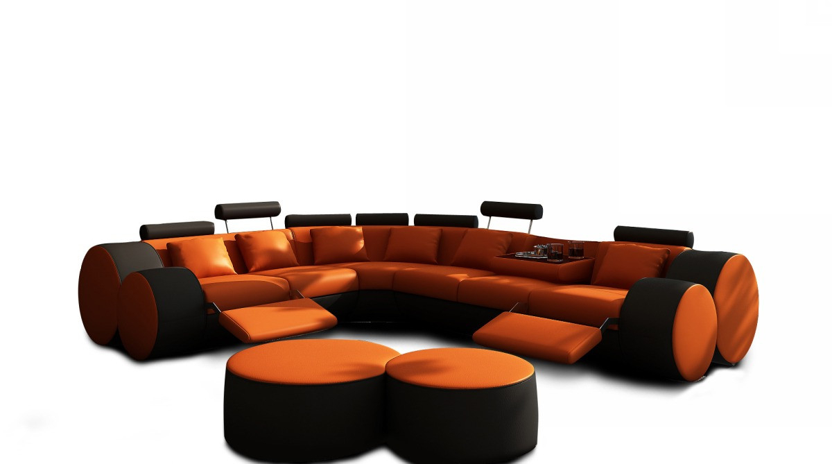 Orange Sofa Chairs In Well Known 3087 Modern Orange And Black Leather Sectional Sofa And Coffee Table (View 9 of 20)