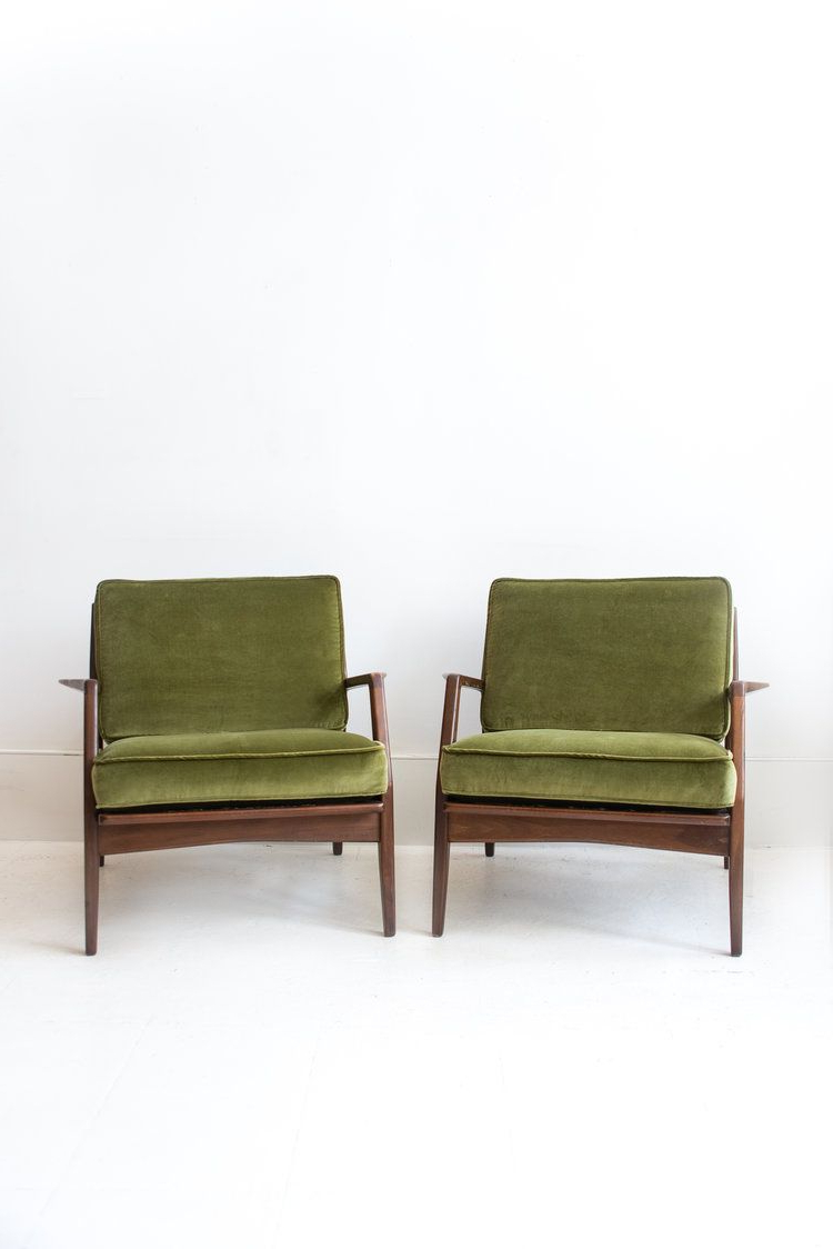 Pair Of Reupholstered Kofod Larsen For Selig Lounge Chairs In 2018 Regarding Famous Gwen Sofa Chairs By Nate Berkus And Jeremiah Brent (View 8 of 20)