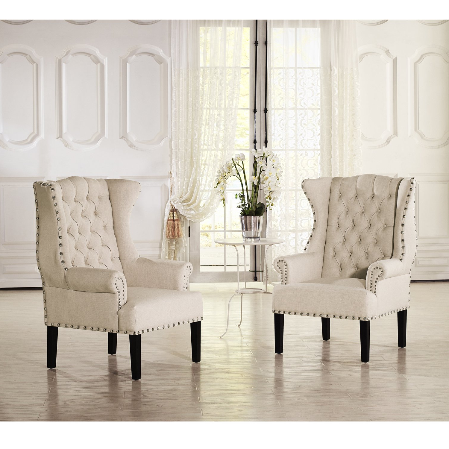 Patterson Ii Arm Sofa Chairs Intended For 2019 Shop Baxton Studio Patterson Wingback Beige Linen And Burlap (View 11 of 20)