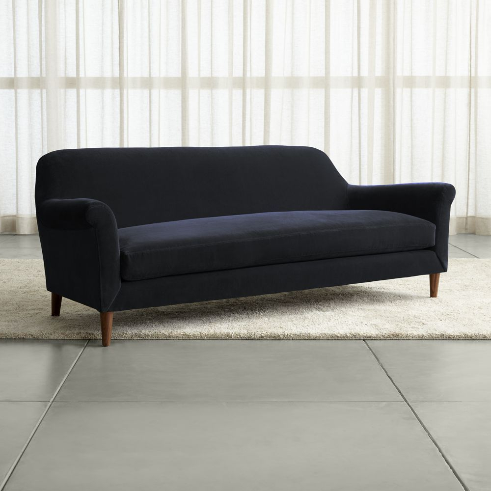 Popular Cullen Ii Roll Arm Velvet Sofa – Crate And Barrel (View 16 of 20)