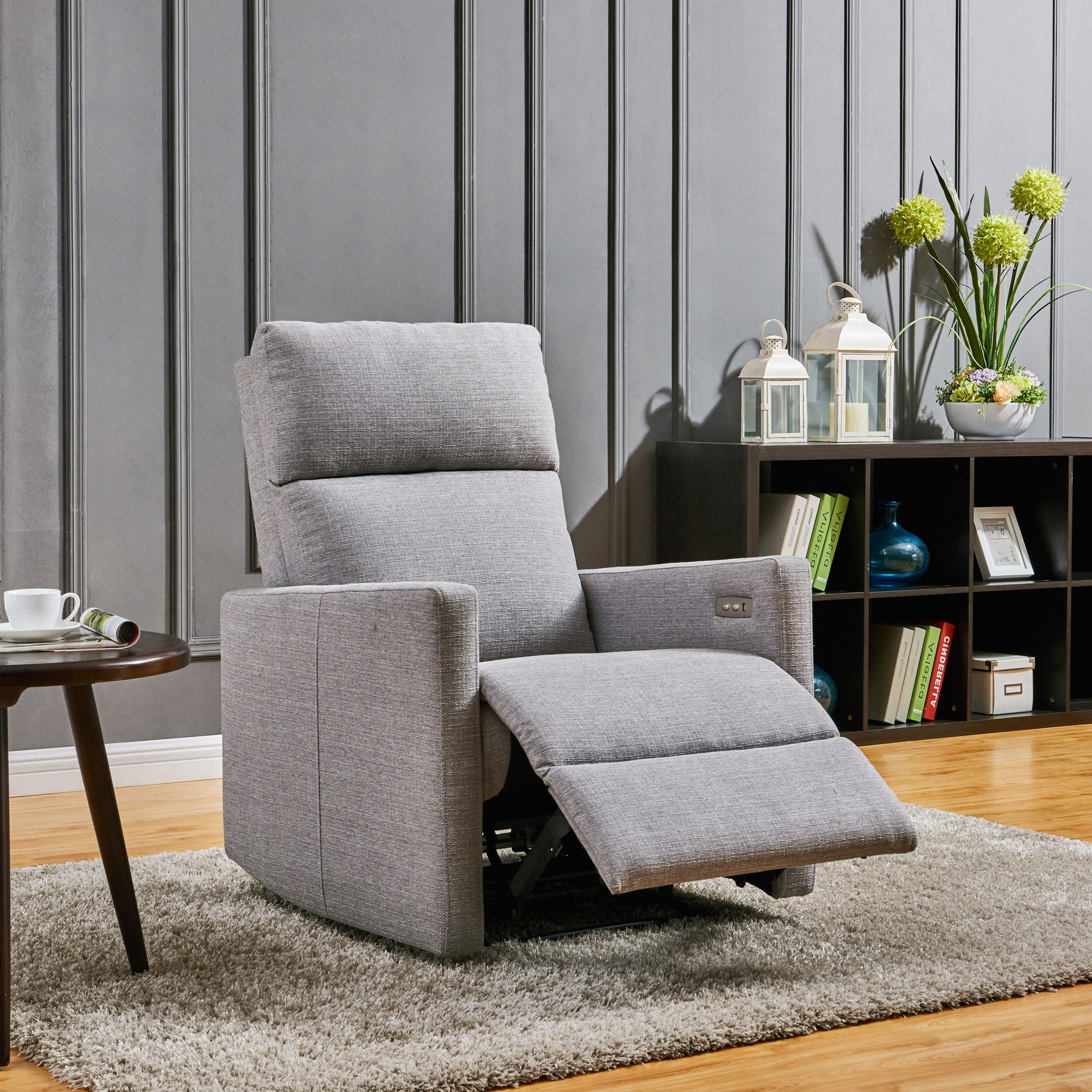 Popular Harbor Grey Swivel Accent Chairs For Shop Prolounger Grey Power Wall Hugger Recliner Chair With Usb Port (View 13 of 20)