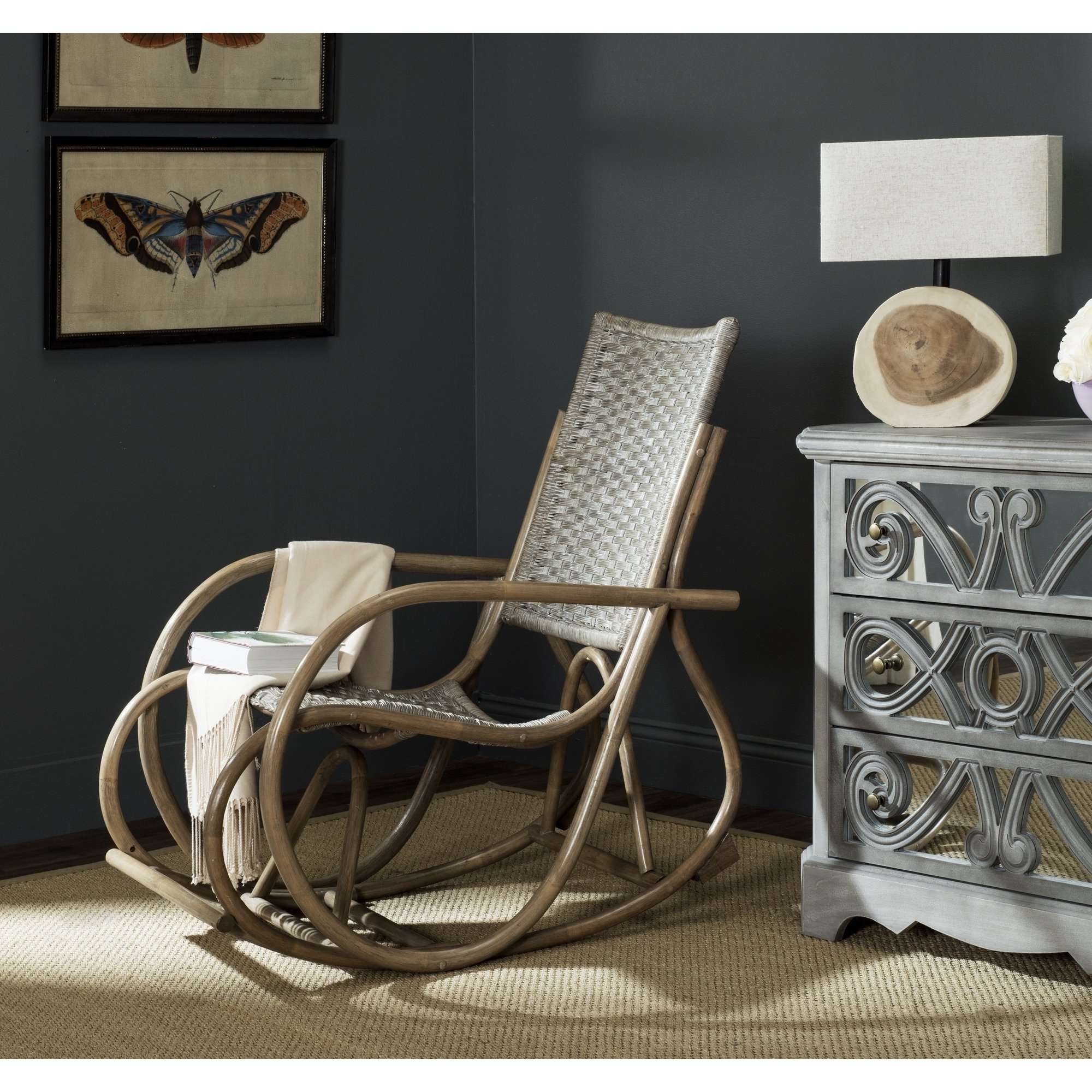 Popular Katrina Blue Swivel Glider Chairs Within Shop Safavieh Bali Antique Grey Rocking Chair – Free Shipping Today (View 19 of 20)
