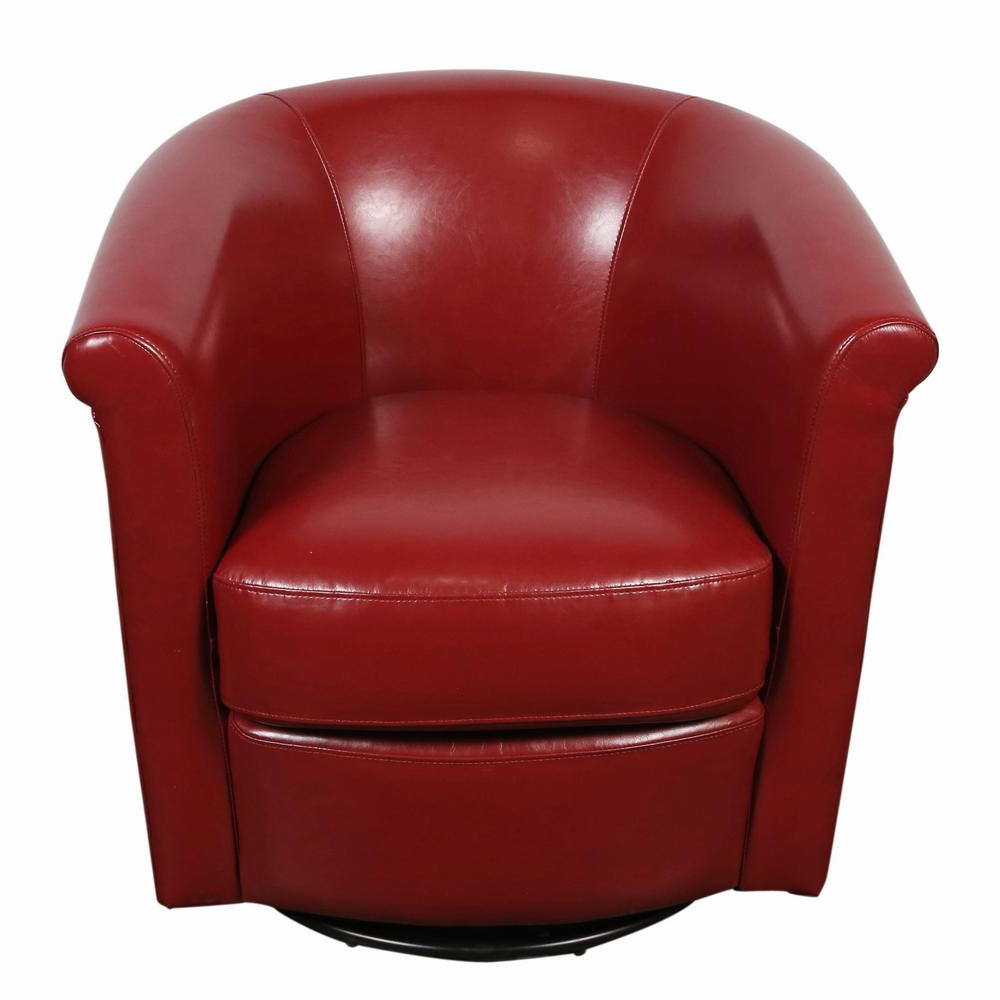 Popular Marvel Contemporary Leather Look Swivel Red Accent Chair 01 33C 03 With Regard To Chocolate Brown Leather Tufted Swivel Chairs (View 16 of 20)