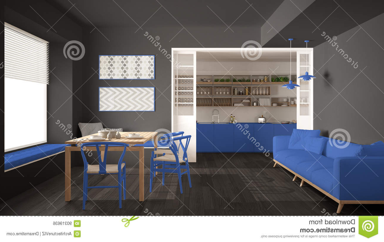 Popular Minimalist Kitchen And Living Room With Sofa, Table And Chairs Inside Sofa Table With Chairs (View 11 of 20)