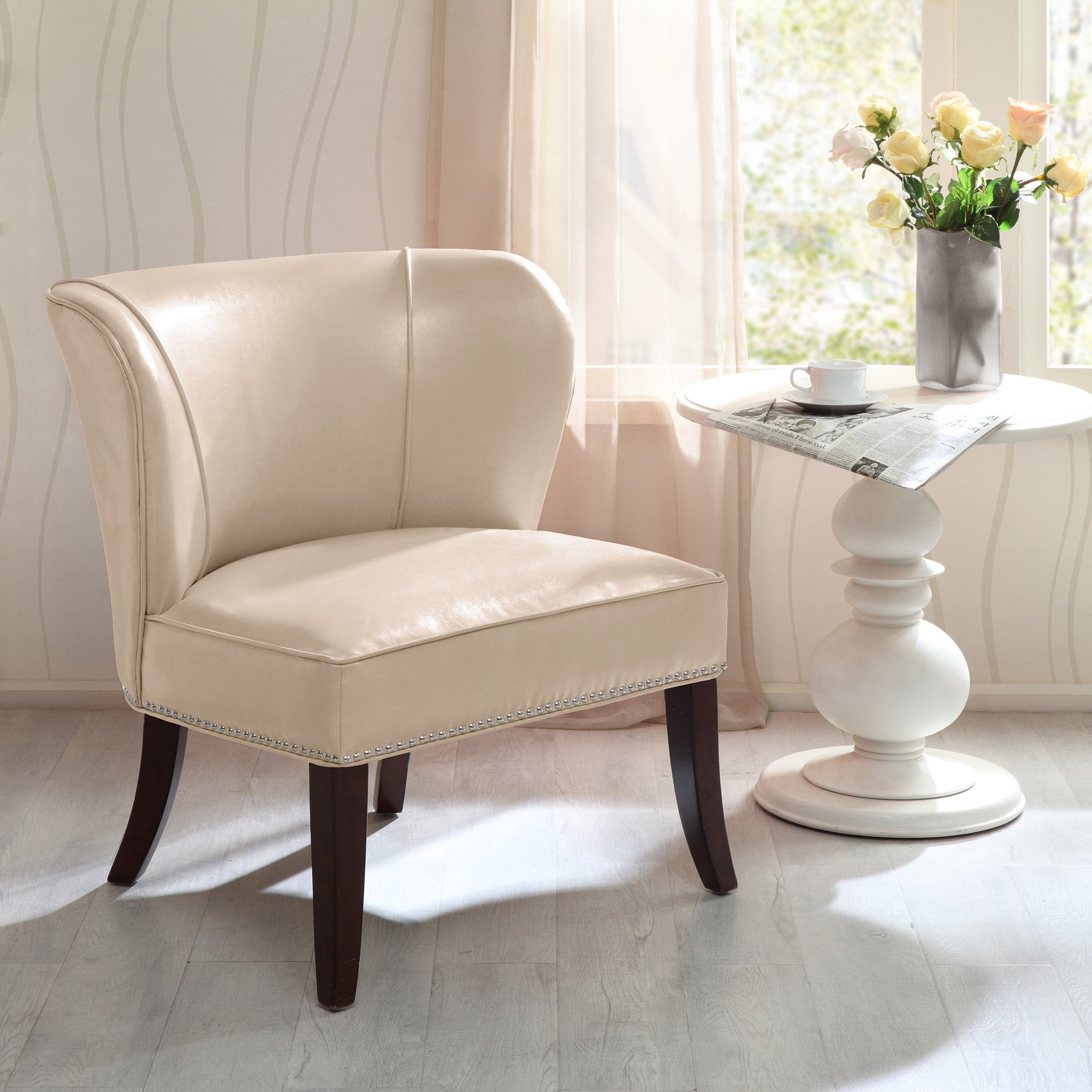 Popular Sheldon Oversized Sofa Chairs With Regard To Shop Madison Park Sheldon Concave Back Armless Chair–Ivory – Free (View 13 of 20)