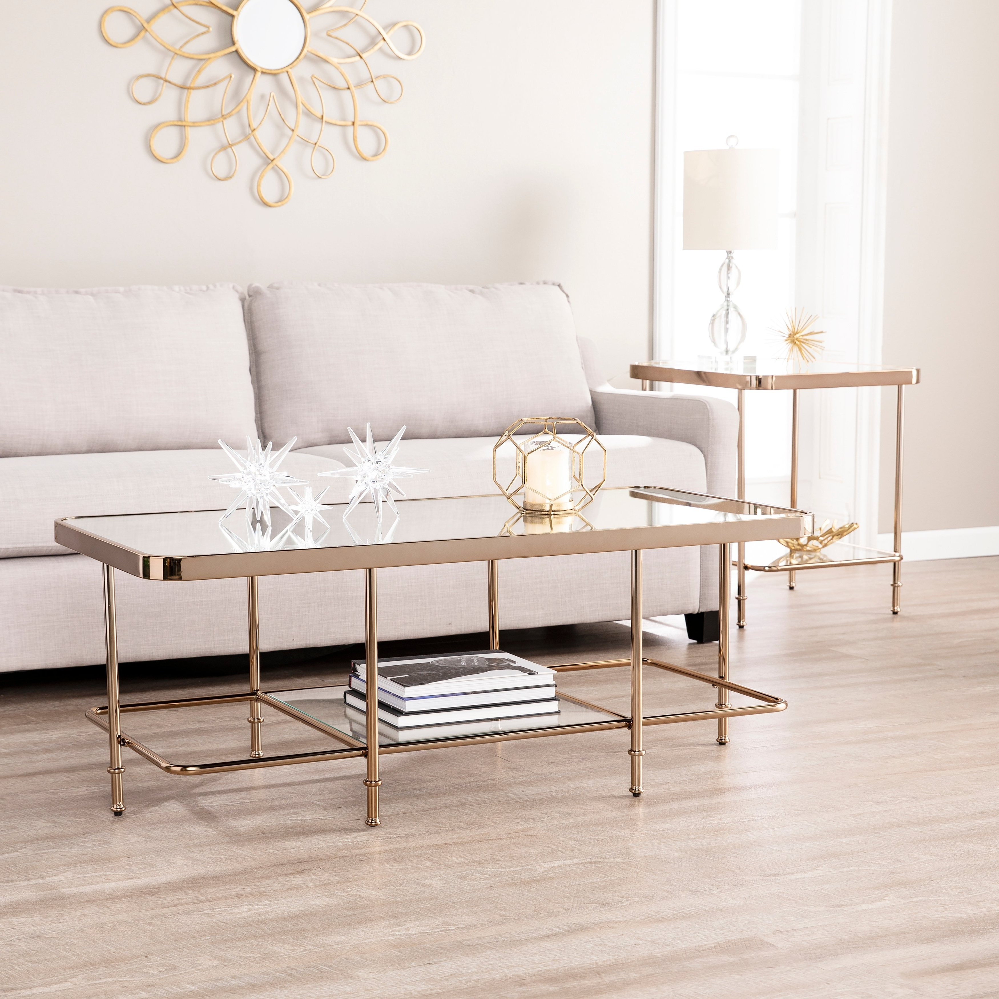 Popular Shop Harper Blvd Sanmeyer Champagne Mirrored Cocktail Table – Free With Harper Down Oversized Sofa Chairs (Gallery 18 of 20)