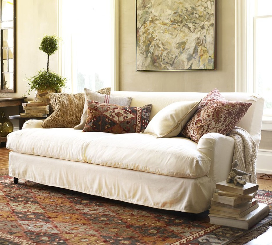 Popular Slipcovers For Sofas And Chairs Pertaining To Furniture: Best Way To Change Up Your Living Room With Pottery Barn (View 12 of 20)